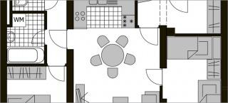 Stan u prizemlju sa dvije spavaće sobe i boravkom